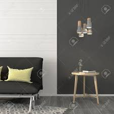 wohnzimmer mit einem sofa und einem kleinen tisch in der nähe der dunkelgrauen wand mit weißen balken dekoriert