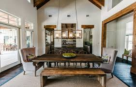 Rustic Lighting Fixture With Lintel Dining Room Transitional And Rectangular Area Rugs