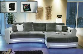 kreabel canapé salon salon d angle laredo blanc avec éclairage et systè kreabel
