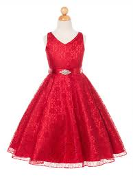 red lovely lace neck flower girl dress in sizes 4 16