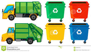100 Rubbish Truck And Cans In Four Colors Stock Illustration