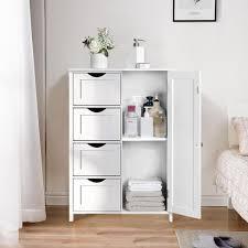 badezimmerschrank schmaler badschrank 81 x 55 x 30 cm 4 schubladen schranktür weiß