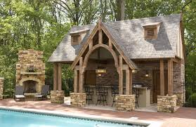 Outdoor Pool And Fireplace Designs