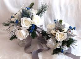 Silver White And Blue Winter Wedding Bouquet Boutonniere