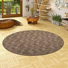 streifenberber teppich modern stripes braun rund