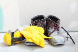 renovation at home construction equipment tools work boots yellow