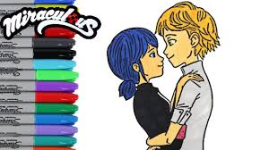 Miraculous Ladybug Coloring Book Pages Marinette And Adrien Videos Kids Art