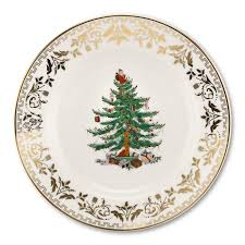 Spode Christmas Tree Gold Collection Set Of 4 Salad Plate Sets