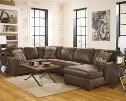 Brown Leather Couch Living Room Ideas by Decor L Shape Brown Leather Sectional Sofa With Floor Lamp And