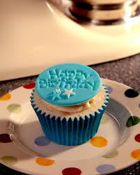 Blue Happy Birthday Cupcake