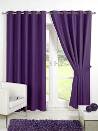 interior lavender blackout curtains with white laced for window