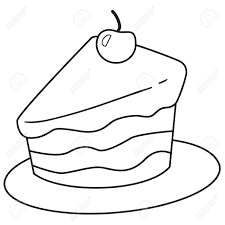 Vector illustration of cake slice in black and white outlined doodle style Stock Vector