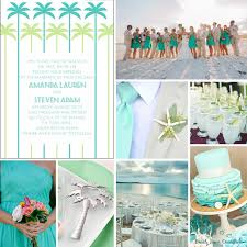 Palm Tree Beach Wedding Invitations Blue Green Art Deco Florida Inspiration Board From Front Occasions