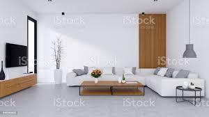 moderne wohnzimmer design und gemütliche wohnen stil weißen sofa mit hölzernen tvschrank auf betonboden 3d rendern stockfoto und mehr bilder
