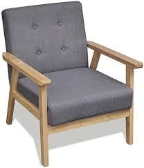 festnight retro holzsessel sessel wohnzimmersessel retro sessel mit armlehne für wohnzimmer schlafzimmer grau