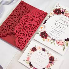 Stunning Red And Burgundy Rose Floral Laser Cut Wedding Invitations EWWS203 2