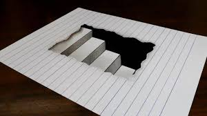 3D Painting Easy In Paper How To Draw Steps Line Trick