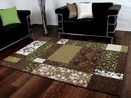 designer teppich braun grün beige patchwork karo in 4 größen