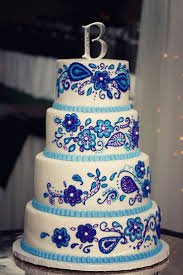 wedding cakes royal blue and purple