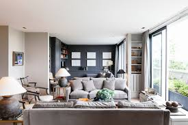gray gooseneck ls with light living room transitional