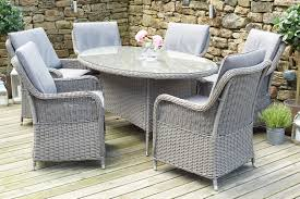 Slate Grey Barbados 6 Seater Oval Dining Set