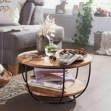 wohnling couchtisch 60x34 5x60 cm akazie massivholz metall sofatisch design wohnzimmertisch rund stubentisch industrial braun tisch mit ablage