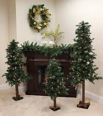 Artificial Christmas Tree Unlit by Set Of 3 Pre Lit Woodland Alpine Artificial Christmas Trees 4 U0027 5