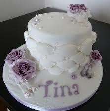 purple flowers and shoes birthday cake