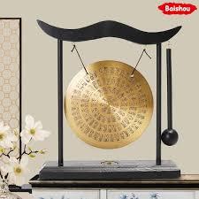 Dropwow Feng Shui Brass Gong Round Drum Shape Desktop Zen Art Zodiac