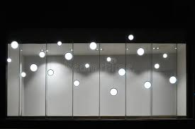 empty store display window with led light bulbs led l used in