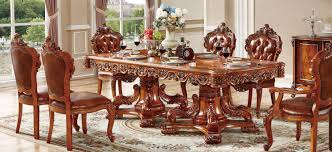 European Style Solid Wood Carved Round Marble Table With 6 ...
