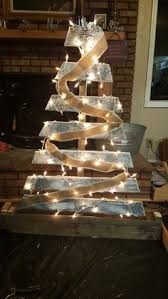 Silver Snowflakes With Burlap Garland White Edging Pallet Christmas Tree