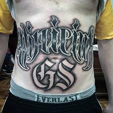 Mens Stomach Old English Font Tattoo Designs