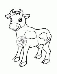 Little Cow Coloring Page For Kids Animal Pages Printables Preschool Large Size