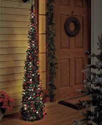 Lighted Christmas Tree In Green Red For Small Spaces