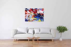 acryl gemälde abstrakt rot weiß blau gelb handgemalt vom künstler
