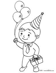 Boy With A Birtday Gift Coloring Page