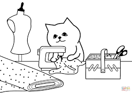 Click The Tailor Cat Coloring Pages To View Printable Version Or Color It Online Compatible With IPad And Android Tablets