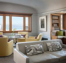 Transitional Living Room Leather Sofa by Pierce Street Transitional Living Room San Francisco By