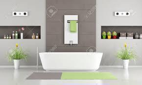 modernes badezimmer mit weißen badewanne heizung und nischen 3d rendering