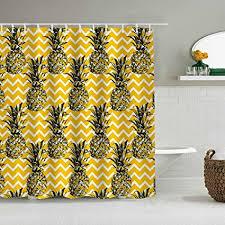 suhom duschvorhang skizze ananas gold schwarz weiß zick zack