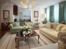 wohnzimmer im neoklassischen stil mit warmen farben in beige oliv und türkis 3d übertragen