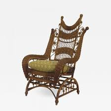 Heywood-Wakefield - American Victorian Natural Wicker Ornate High Back  Platform Rocking Chair