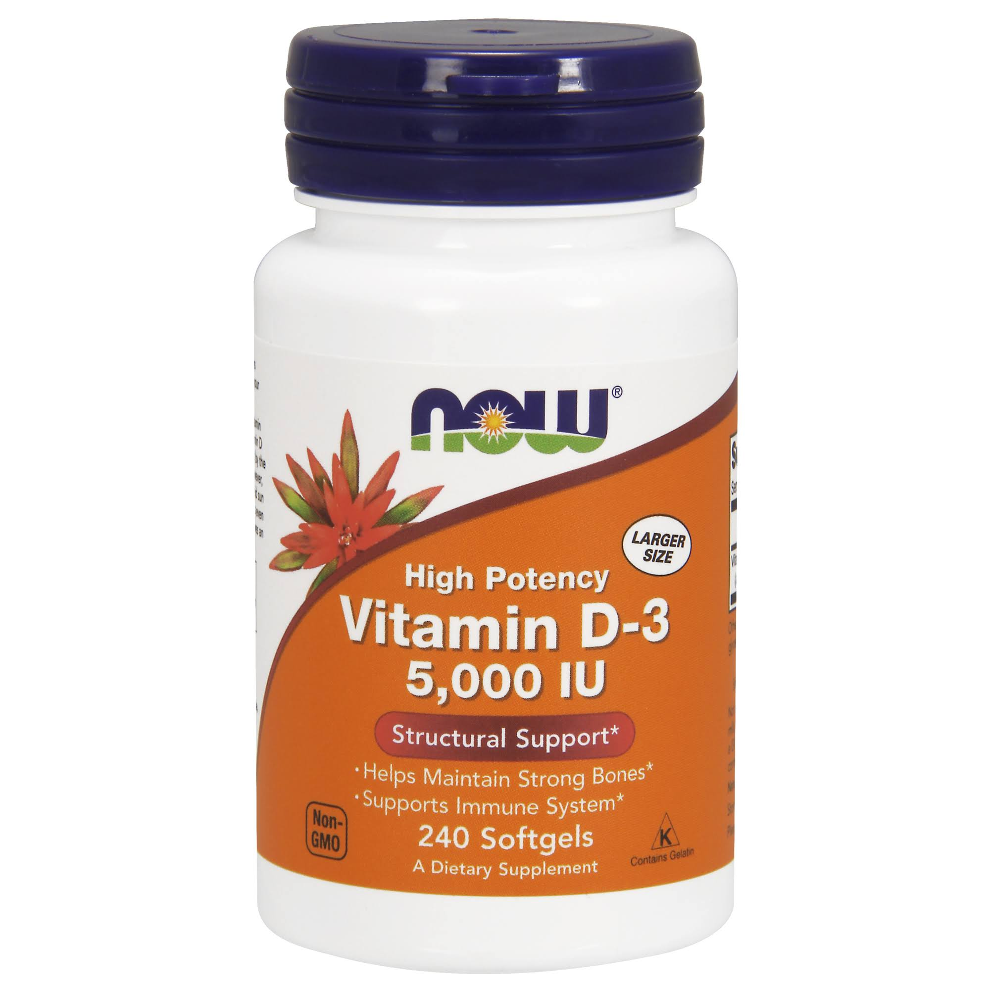 Now Foods Vitamin D-3 - 5000 IU, 240 Softgels