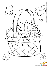 8 March Coloring Pages Flower Basket Colouring Page