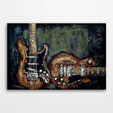 Guitar Painting Music Art Les Paul Gift For A Musician Original Textured Wall On Canvas Free U