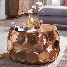 wohnling couchtisch honeycomb 60x36x60 cm aluminium anstelltisch orientalisch kupfer rund flacher hammerschlag sofatisch metall design
