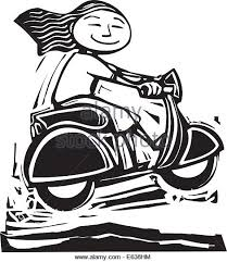 Blackand White Image Of A Girl On Motor Scooter