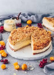 veganer bienenstich mit pudding und mandeln