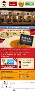 newsletter cuisine indian hut restaurant newsletter design